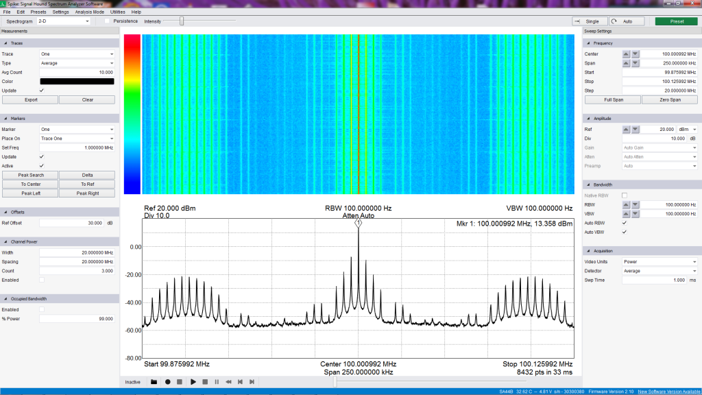 spectrum_VFO_100MHz_250kHz_average