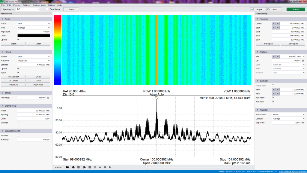 spectrum_VFO_100MHz_2MHz_average